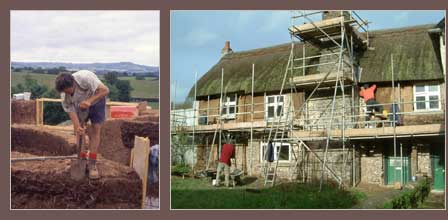 Building In Cob and A Traditional Cob Building Being Repaired